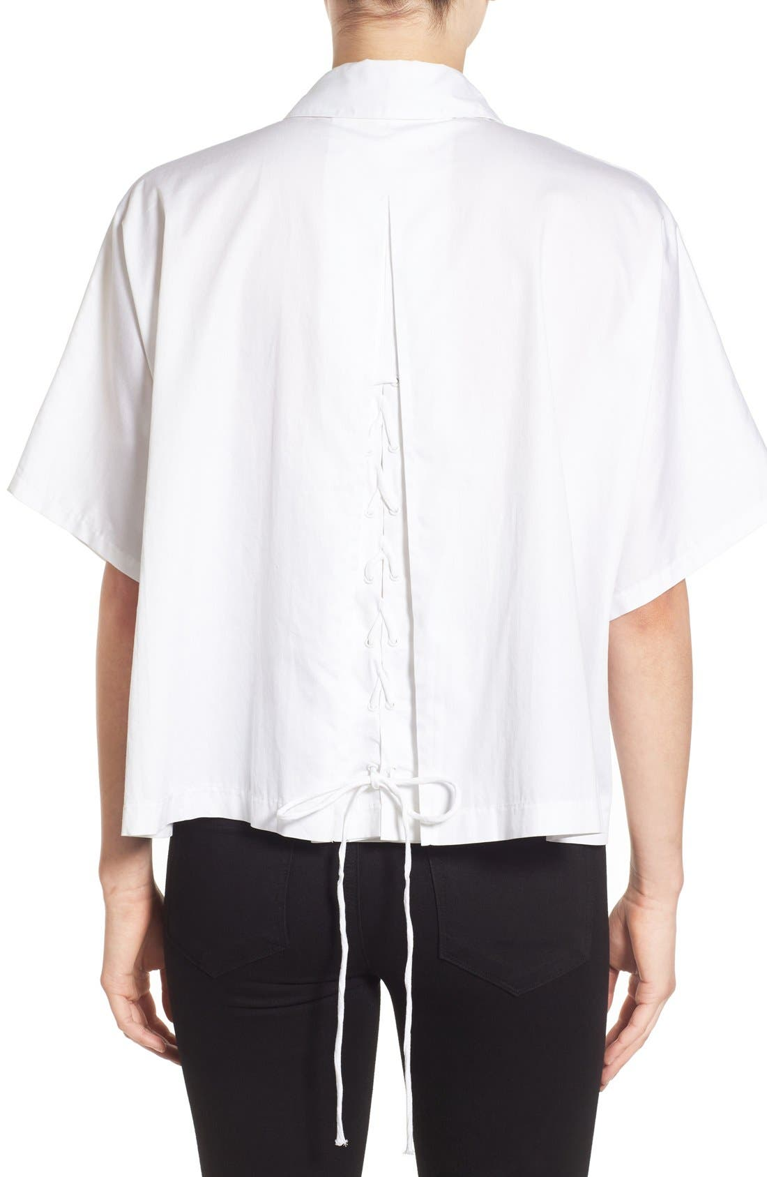 Alternate Image 2  - KENDALL + KYLIE Back Lace-Up Shirt