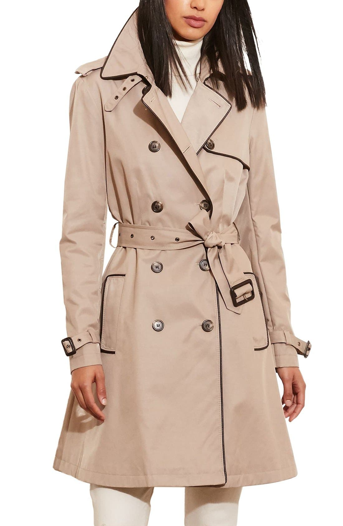 Faux Leather Trim Trench Coat,                         Main,                         color, Old Sand