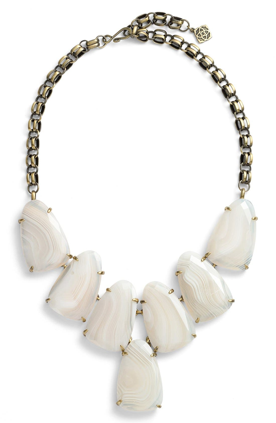 Harlow Necklace,                         Main,                         color, White Banded Agate/ Brass