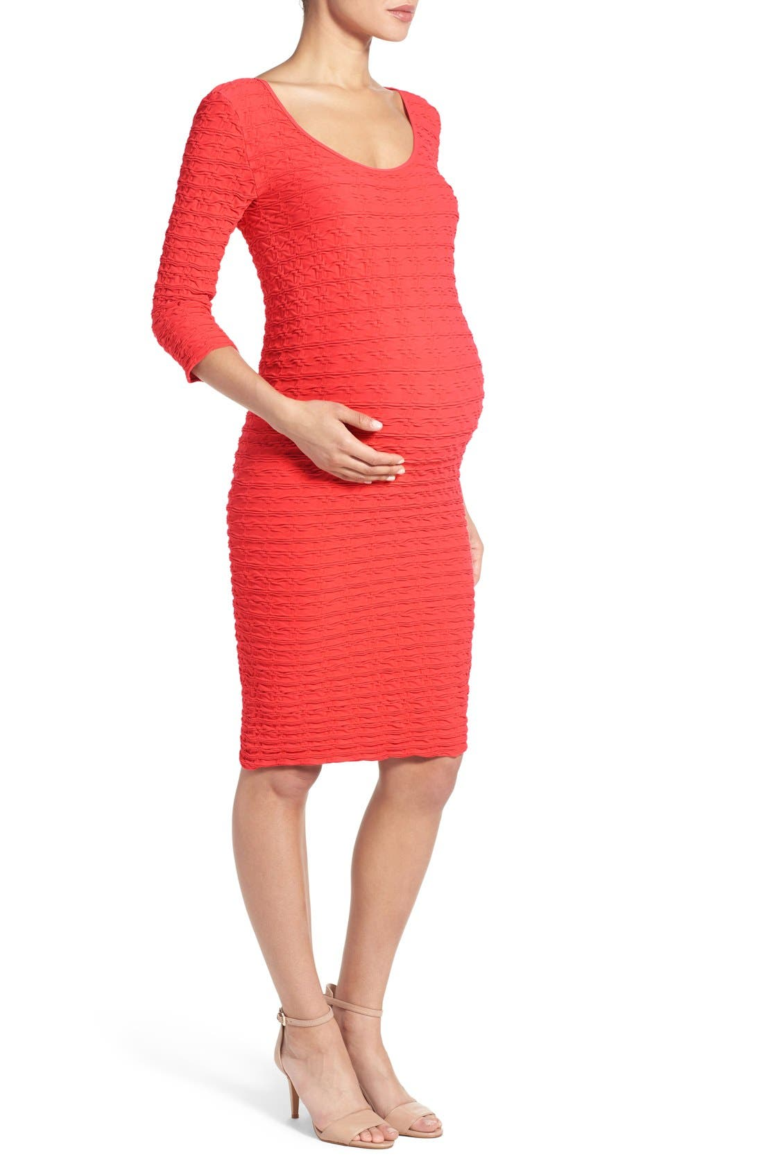 Alternate Image 3  - Tees by Tina Crinkle Maternity Sheath Dress