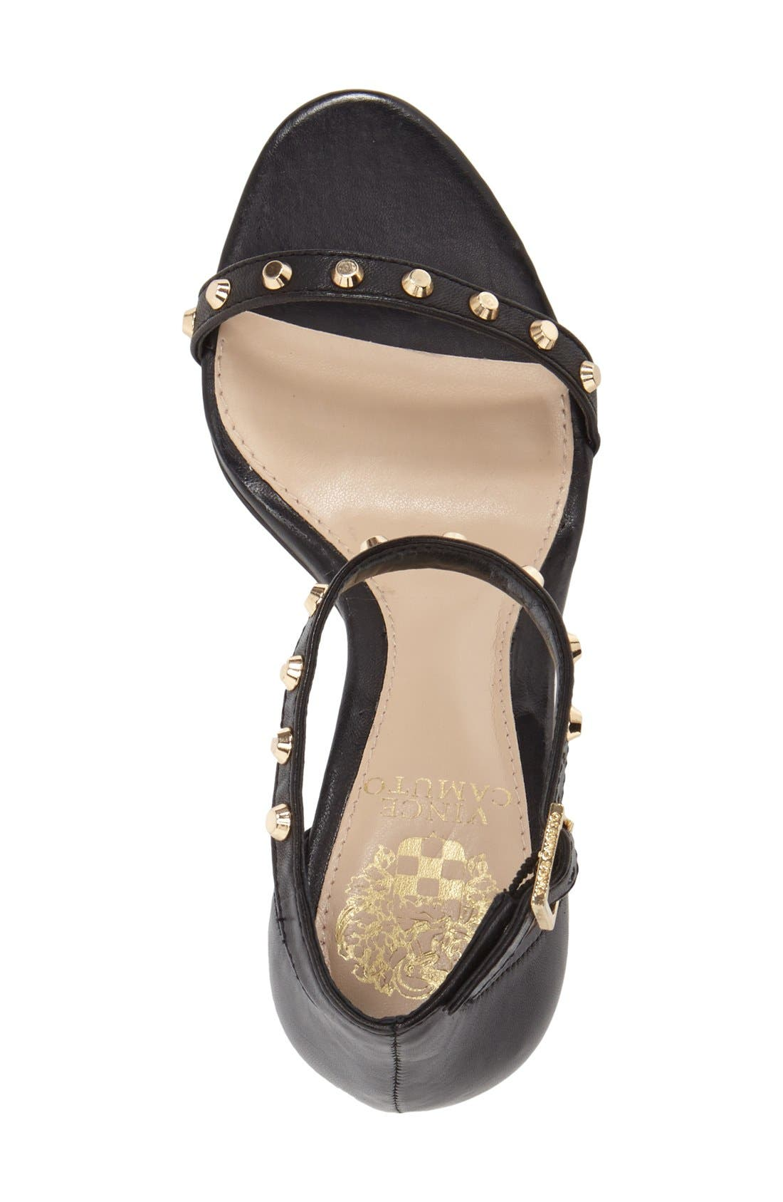'Cassandy' Studded Sandal,                             Alternate thumbnail 3, color,                             Black Napa Leather