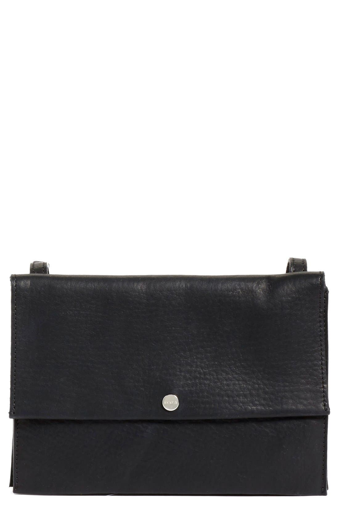 Crossbody Leather Bag,                             Main thumbnail 1, color,                             Black