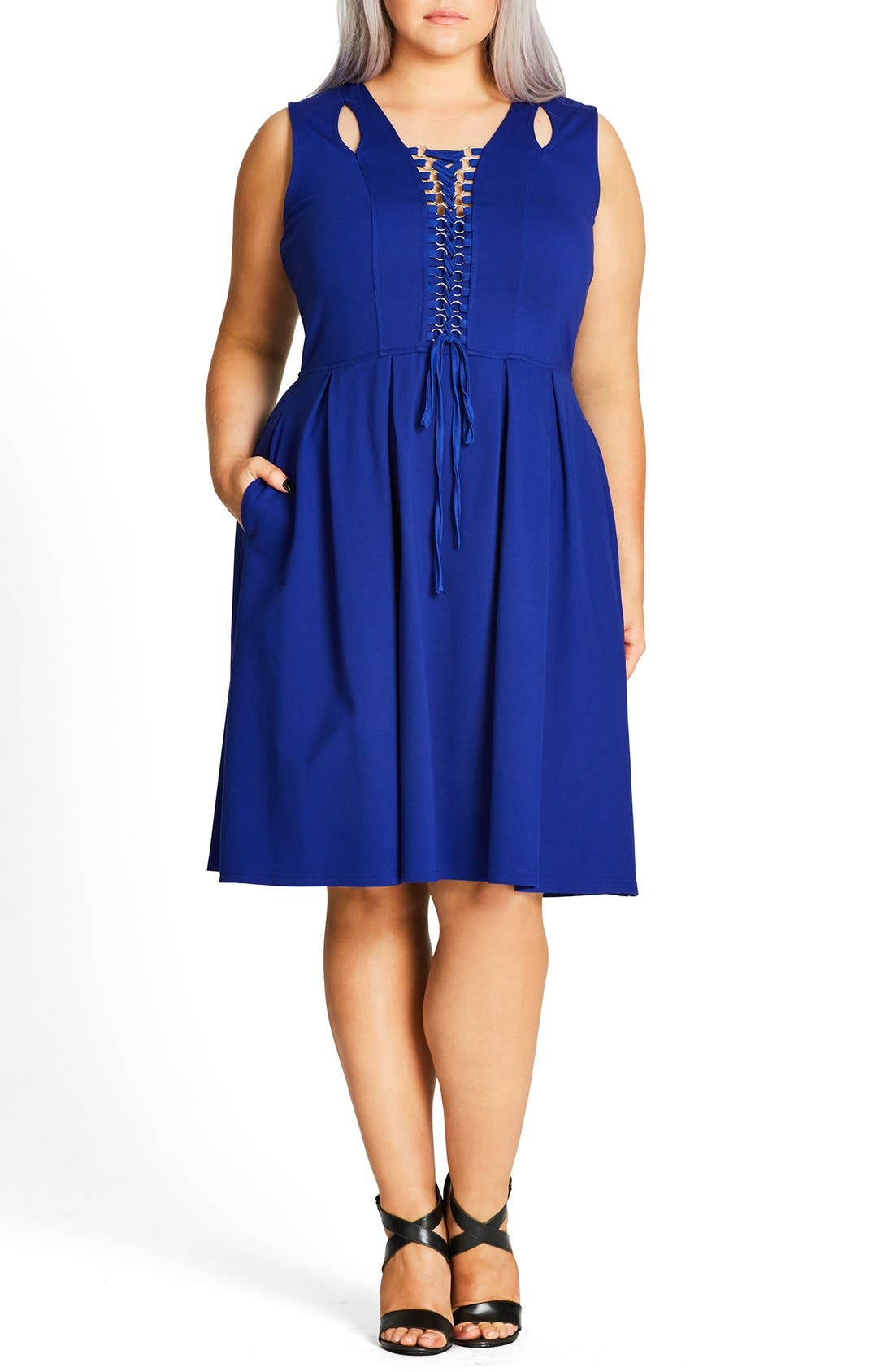 Lace-Up Fit & Flare Dress,                             Main thumbnail 1, color,                             Cobalt