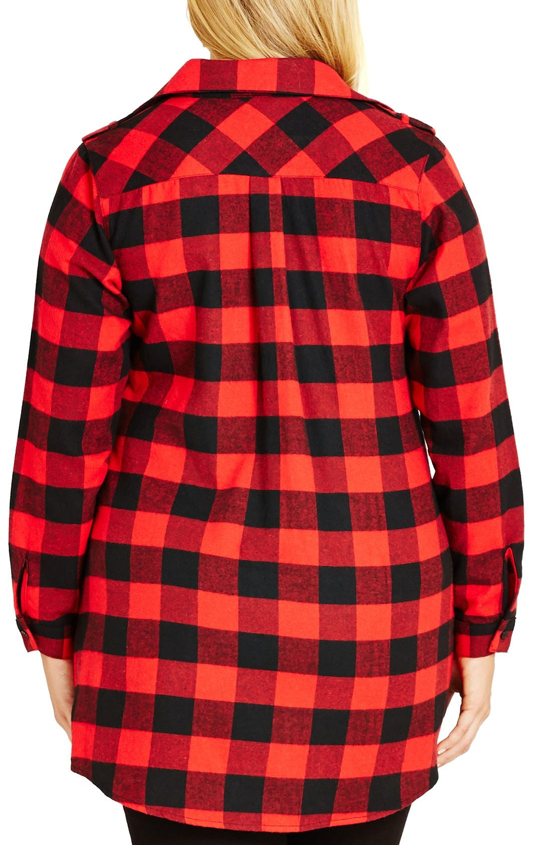 Alternate Image 2  - City Chic Plaid Boyfriend Shirt (Plus Size)