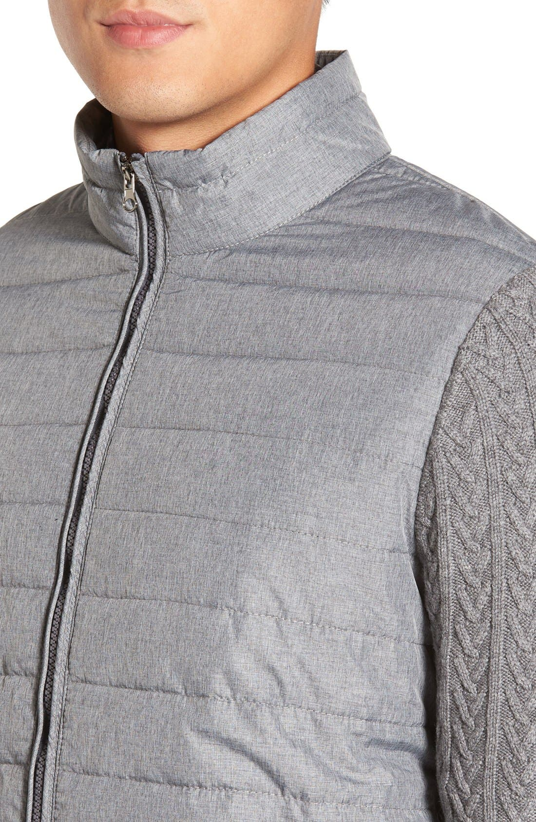 'Beacon' Trim Fit Quilted Cable Knit Zip Sweater,                             Alternate thumbnail 4, color,                             Grey