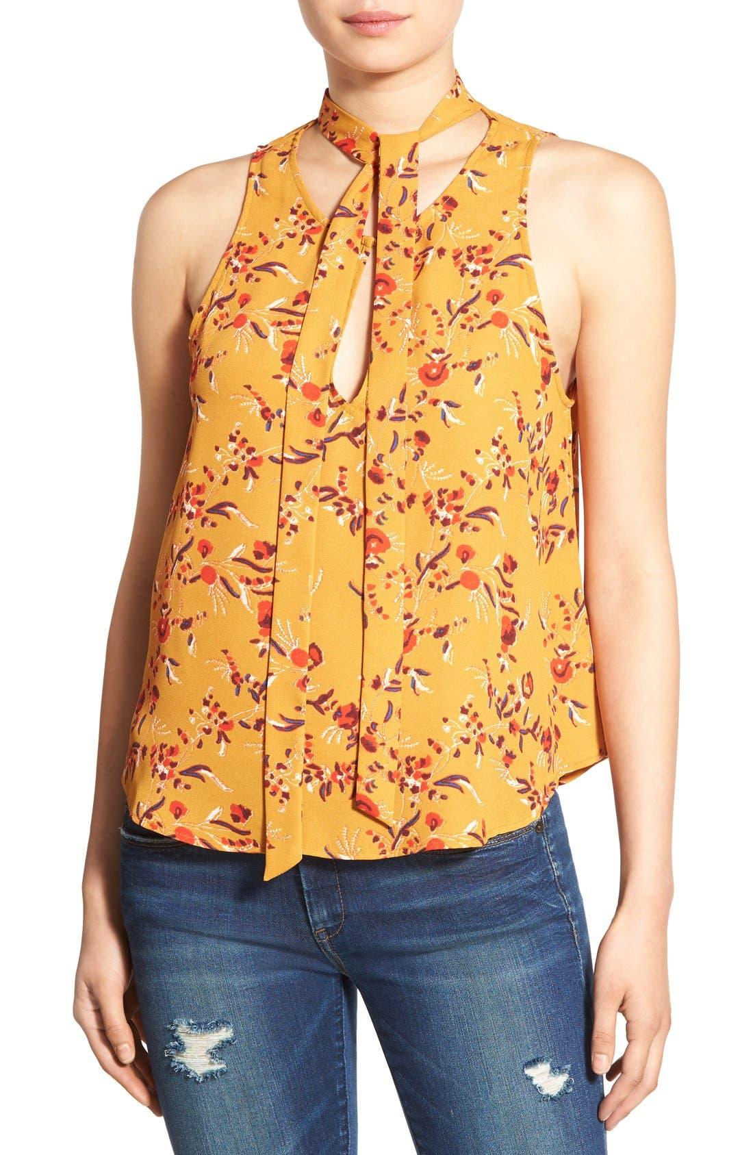 ASTR Tie Neck Print Swing Tank,                         Main,                         color, Marigold Floral