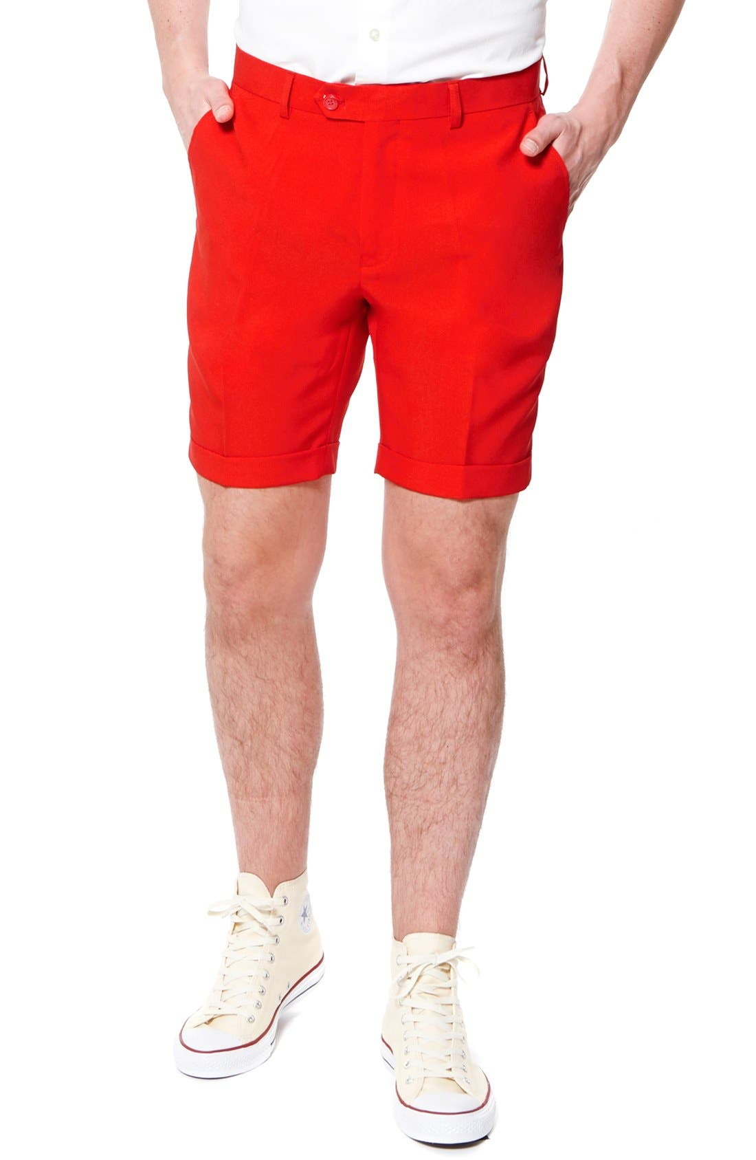 'Summer Red Devil' Trim Fit Short Suit with Tie,                             Alternate thumbnail 3, color,                             Medium Red
