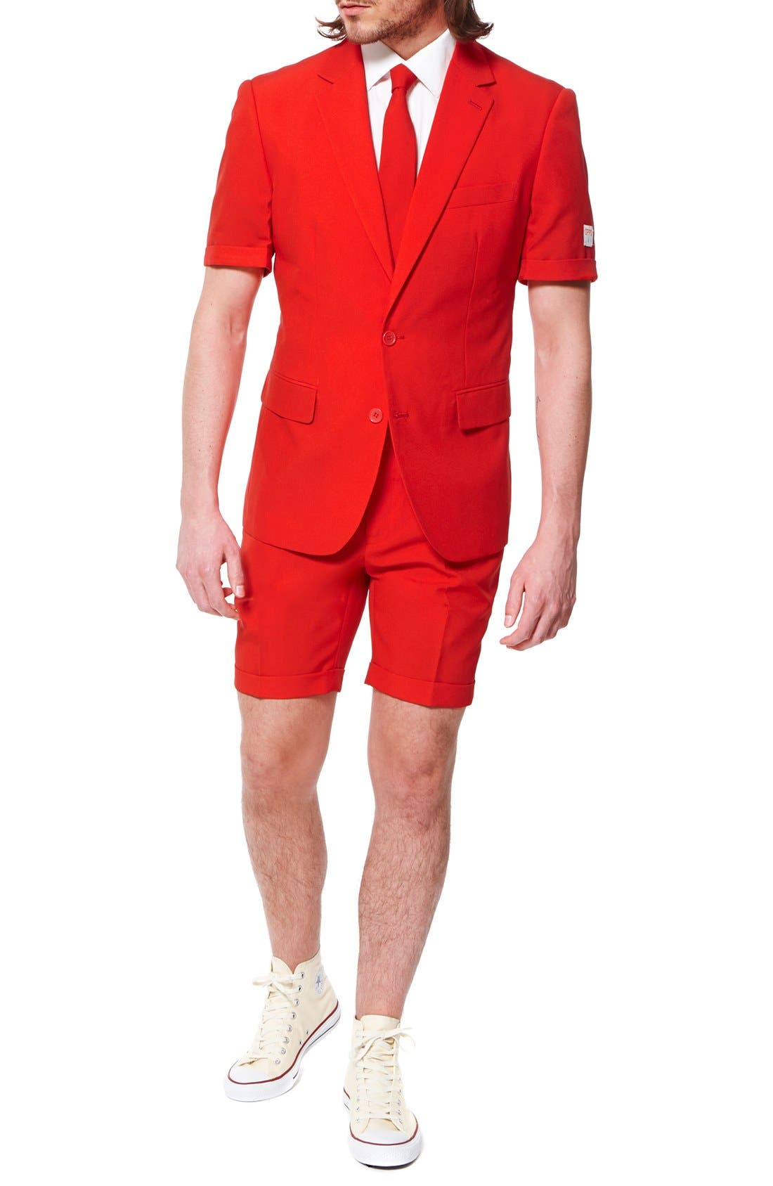 'Summer Red Devil' Trim Fit Short Suit with Tie,                             Alternate thumbnail 4, color,                             Medium Red