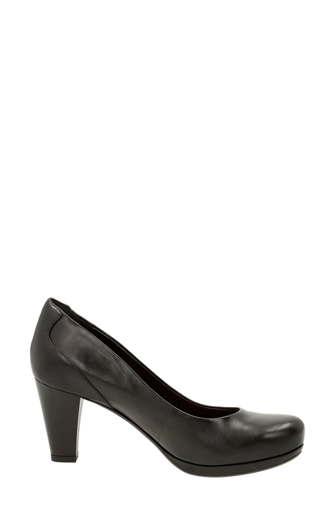 'Chorus Chic' Round Toe Pump,                             Alternate thumbnail 2, color,                             Black Leather