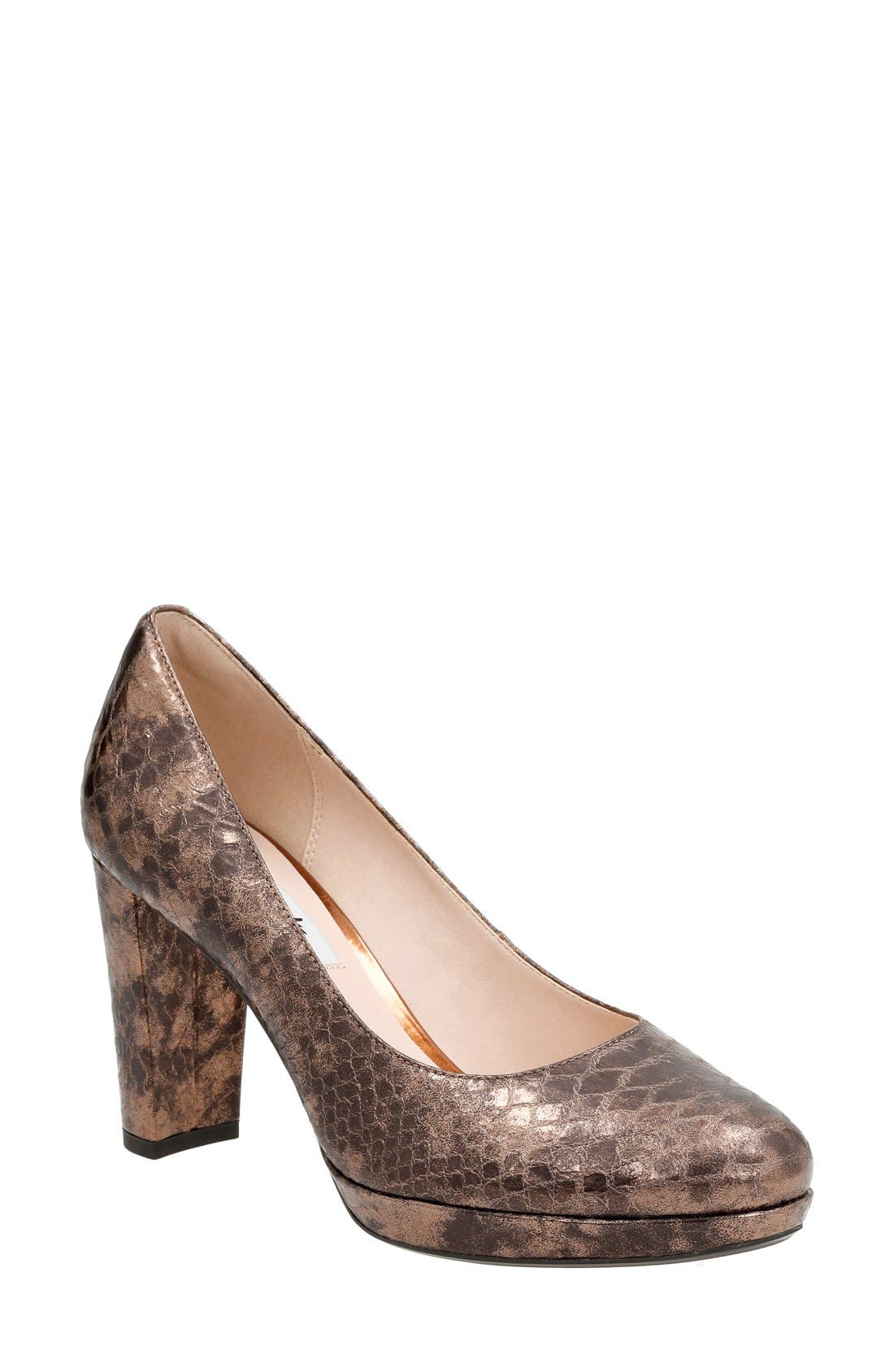 Kendra Sienna Almond Toe Pump,                             Main thumbnail 1, color,                             Bronze Snake Leather