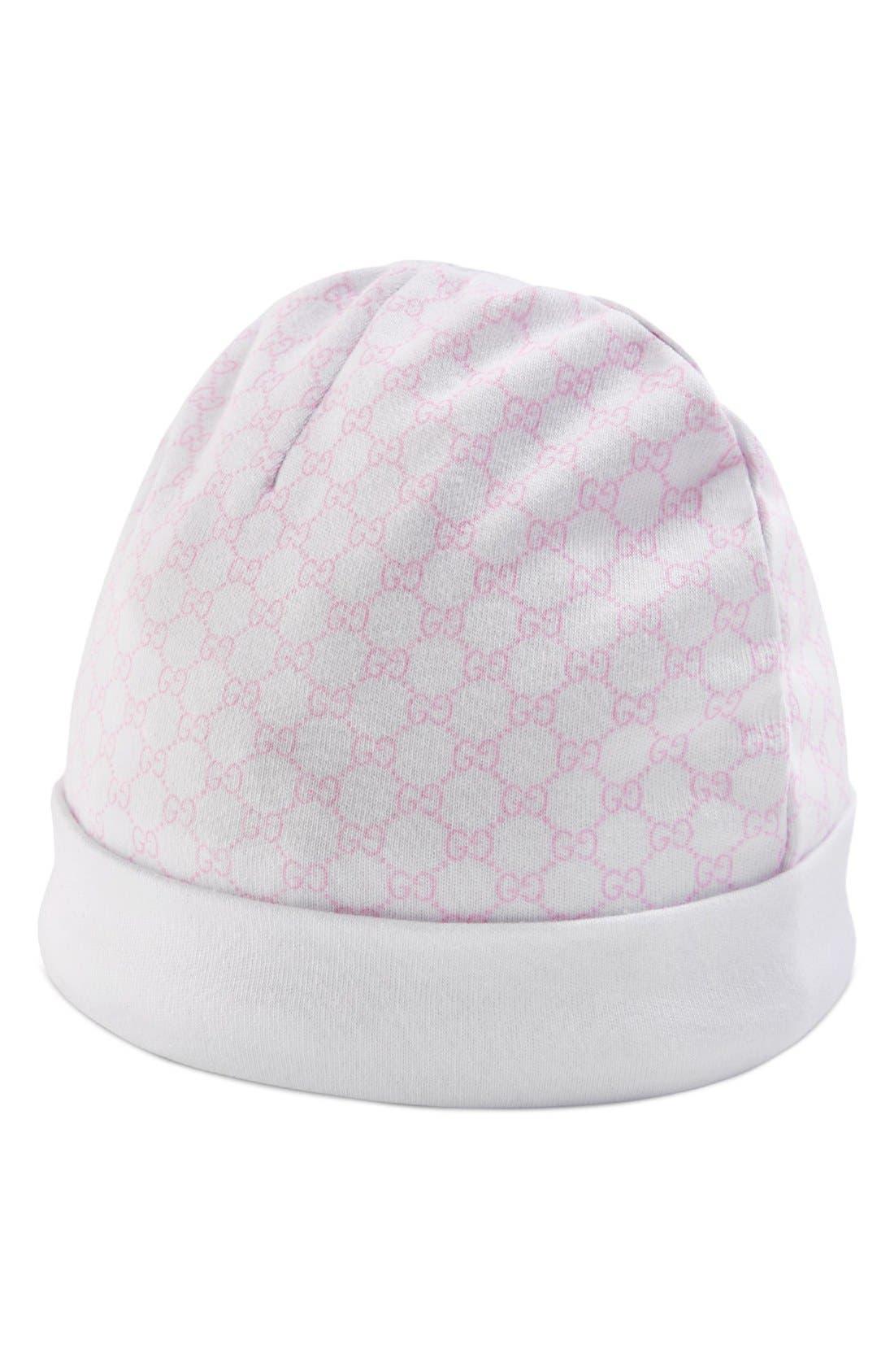 Logo Pattern Knit Cap,                             Alternate thumbnail 2, color,                             Ivory/ Pink
