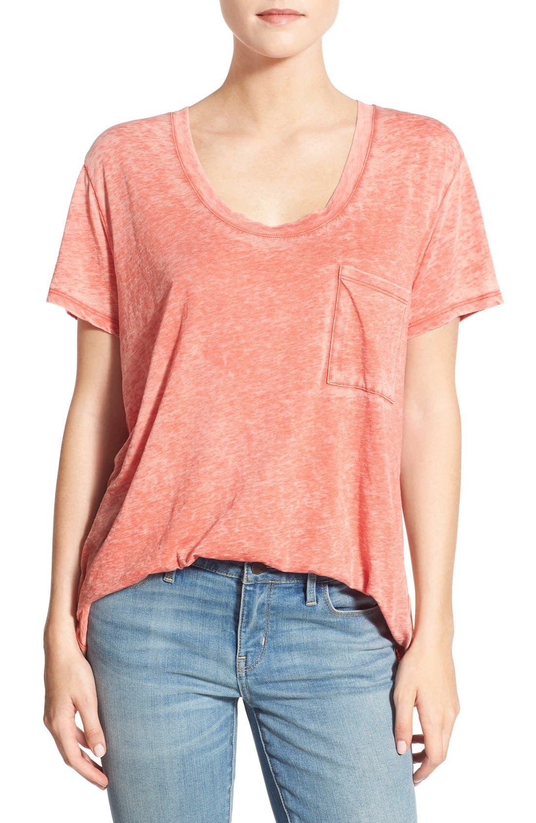 Treasure&Bond One Pocket Burnout Tee,                         Main,                         color, Orange Clay