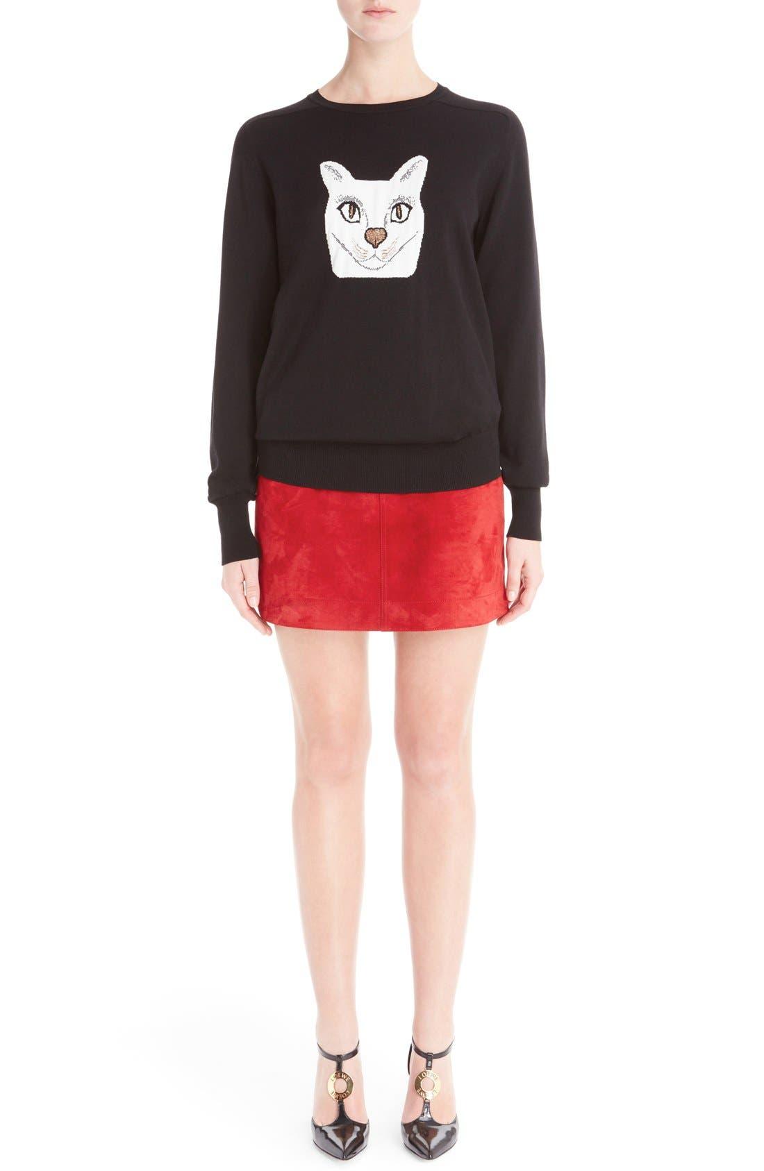 Wool Blend Intarsia Sweater,                             Main thumbnail 1, color,                             Black