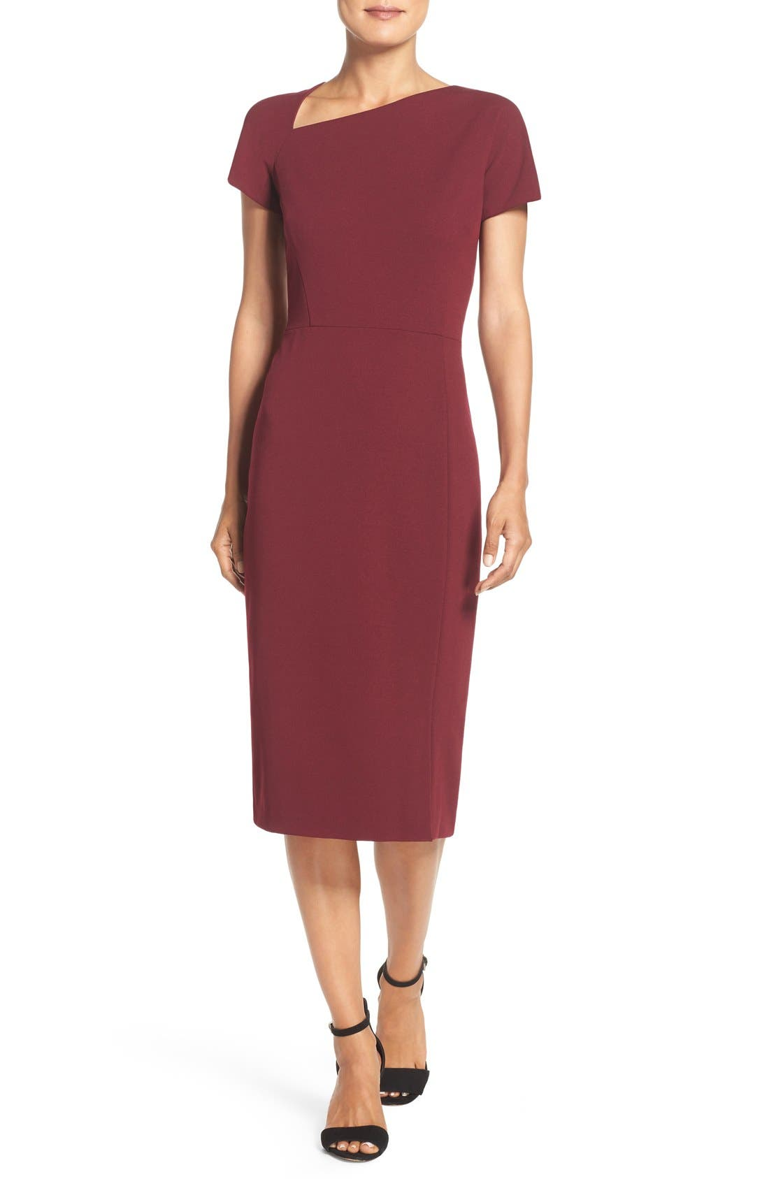 Maggy London Asymmetrical Sheath Dress (Regular & Petite)