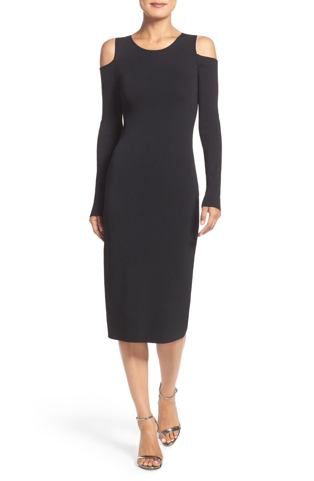 Main Image - Eliza J Cold Shoulder Knit Body-Con Dress (Regular & Petite)