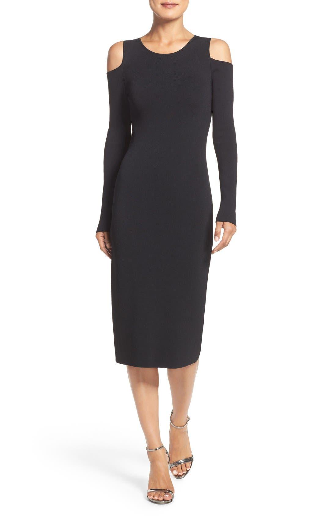 Eliza J Cold Shoulder Knit Body-Con Dress (Regular & Petite)