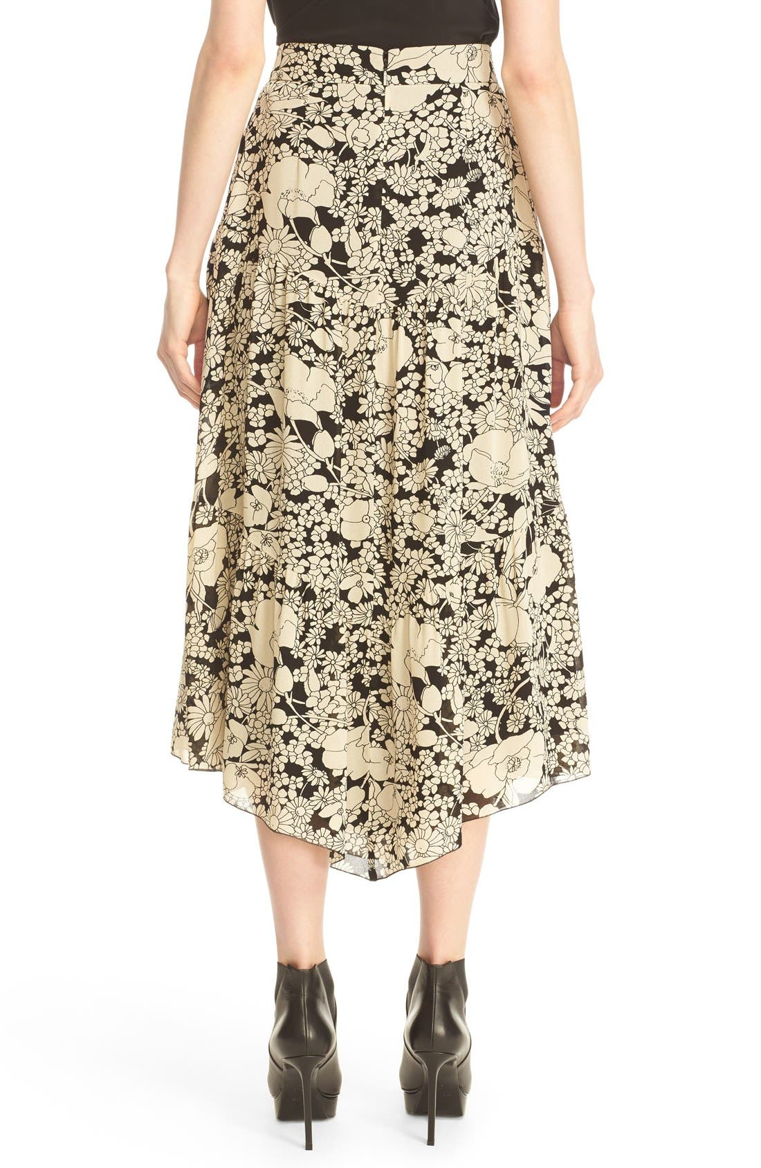 Alternate Image 2  - Saint Laurent Floral Print Crepe Midi Skirt