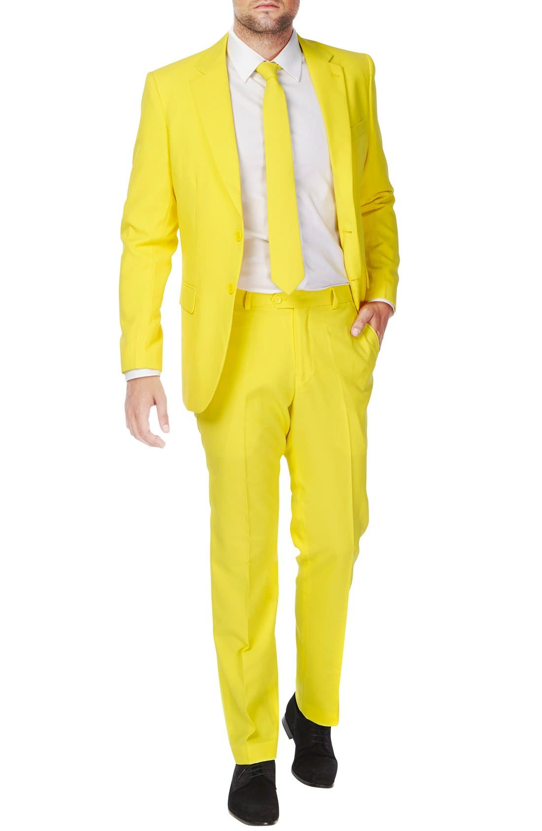 'Yellow Fellow' Trim Fit Two-Piece Suit with Tie,                         Main,                         color, Yellow