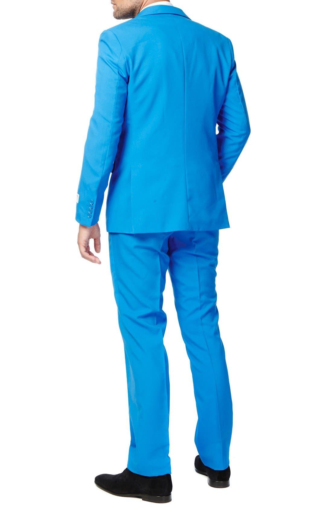 'Stars & Stripes' Trim Fit Suit with Tie,                             Alternate thumbnail 2, color,                             Blue