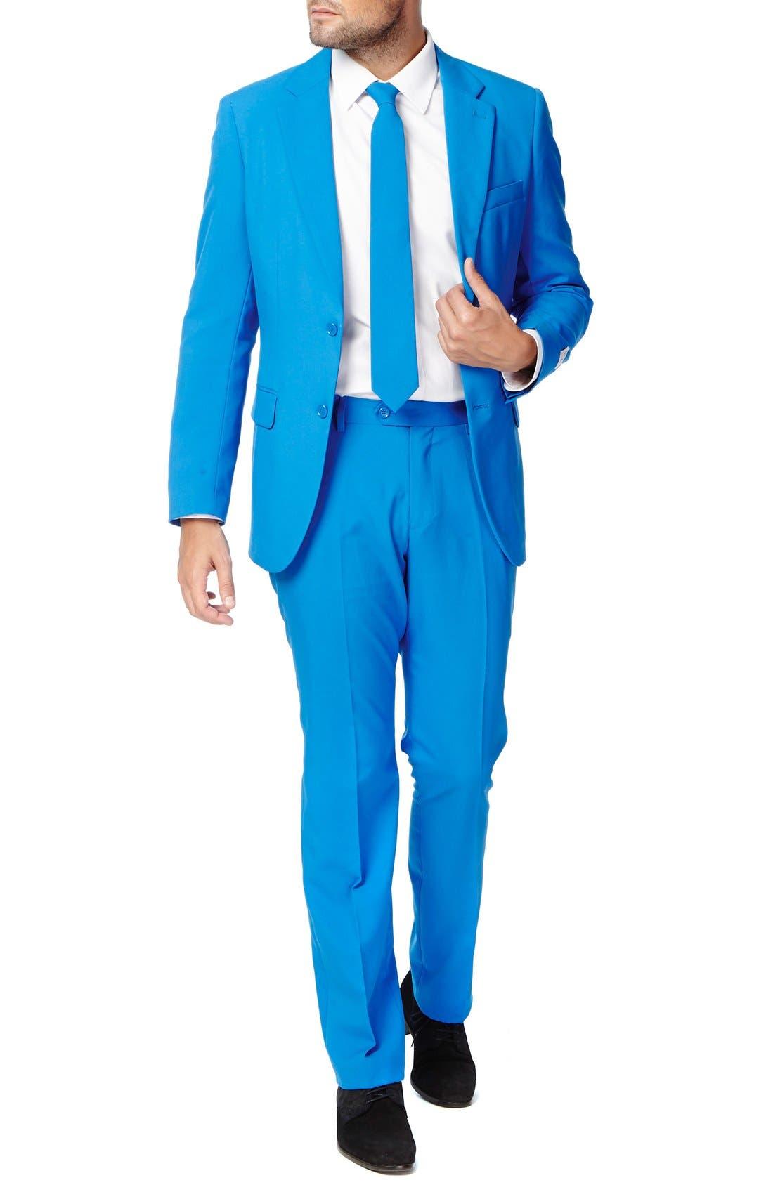 'Stars & Stripes' Trim Fit Suit with Tie,                             Main thumbnail 1, color,                             Blue
