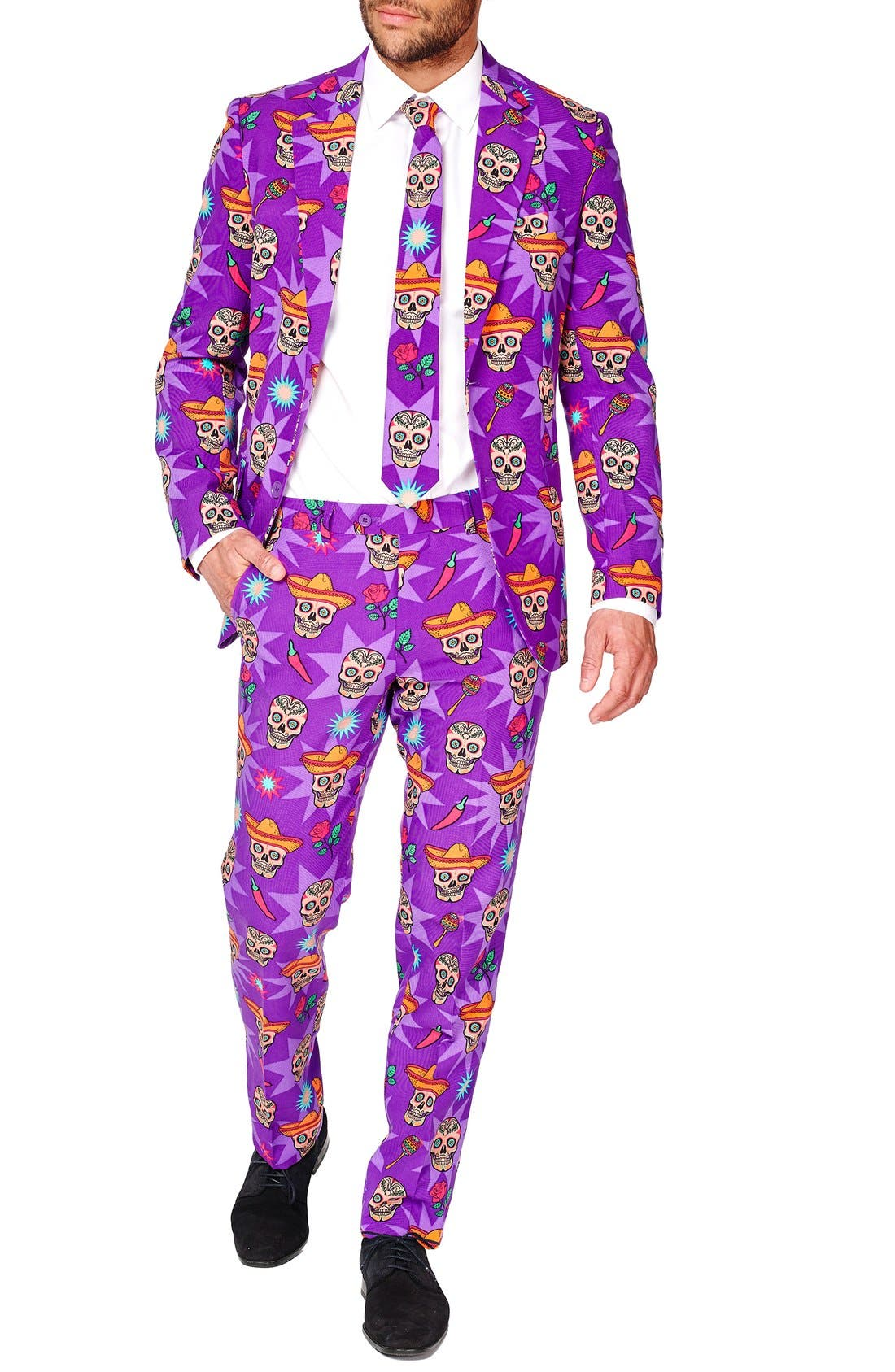 'El Muerto' Trim Fit Two-Piece Suit with Tie,                         Main,                         color, Purple