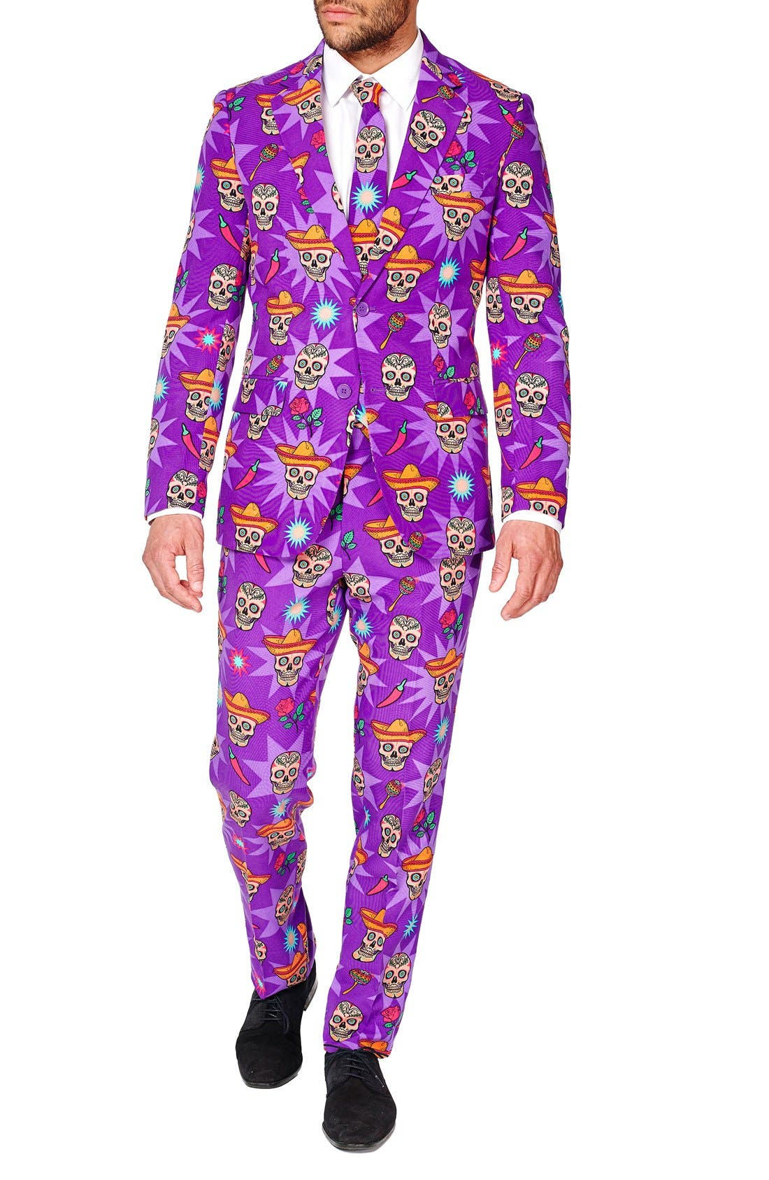 'El Muerto' Trim Fit Two-Piece Suit with Tie,                             Alternate thumbnail 4, color,                             Purple