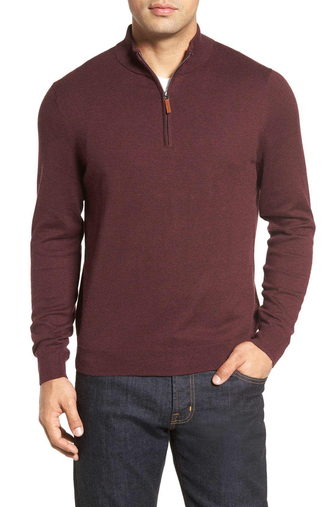 Nordstrom Men's Shop Half Zip Cotton & Cashmere Pullover (Regular & Tall)