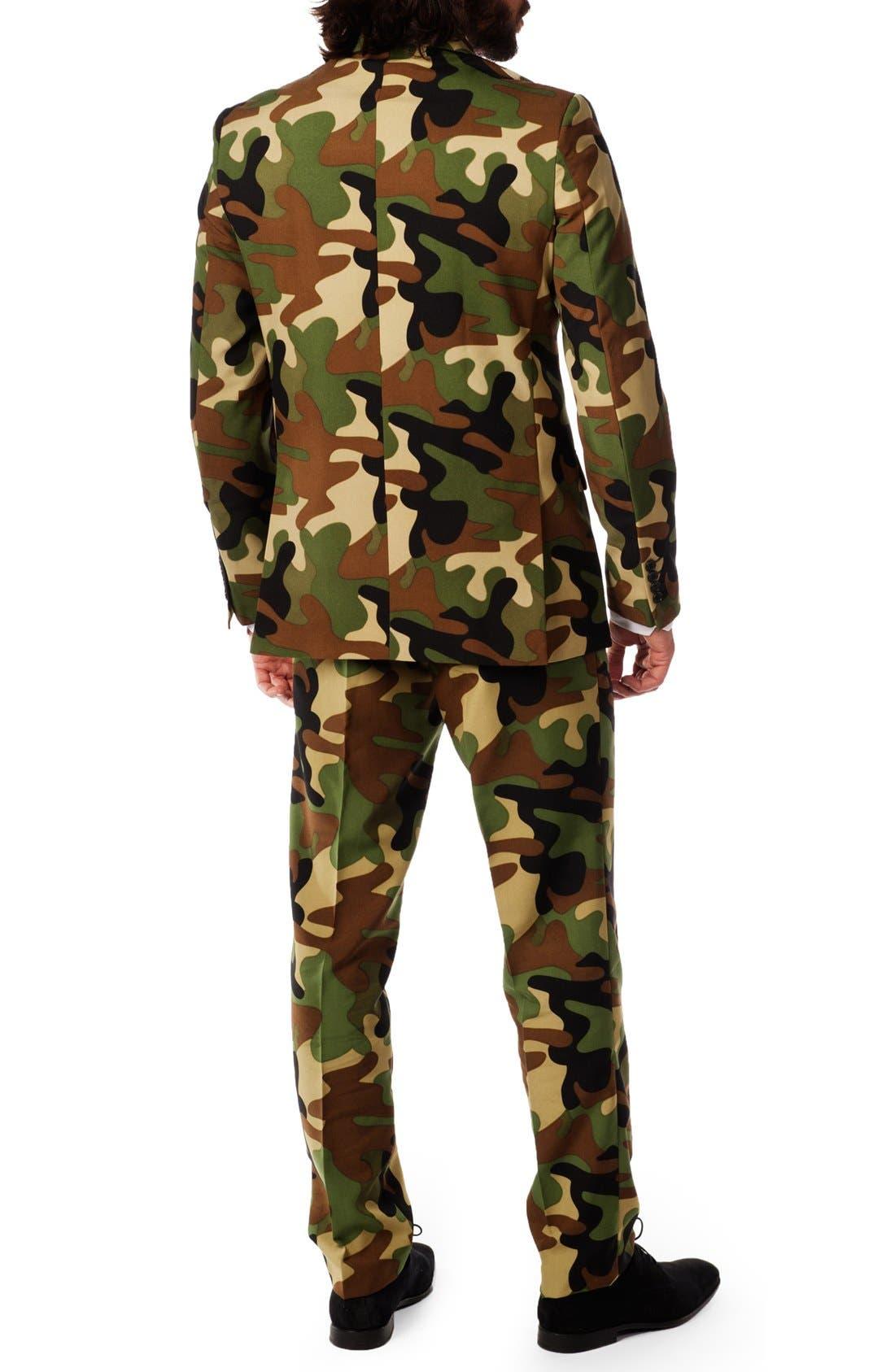 'Commando' Trim Fit Two-Piece Suit with Tie,                             Alternate thumbnail 2, color,                             Camo