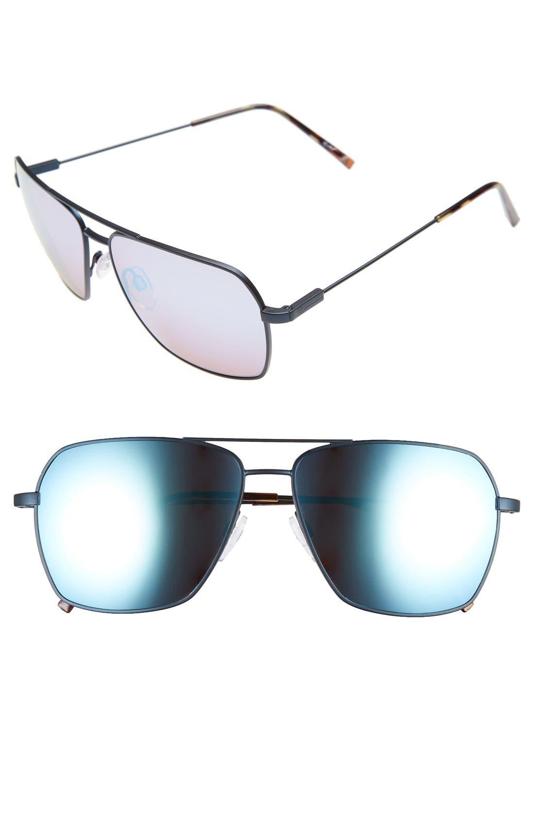 'AV2' 59mm Navigator Sunglasses,                         Main,                         color, Midnight/ Rose Sky Blue Chrome
