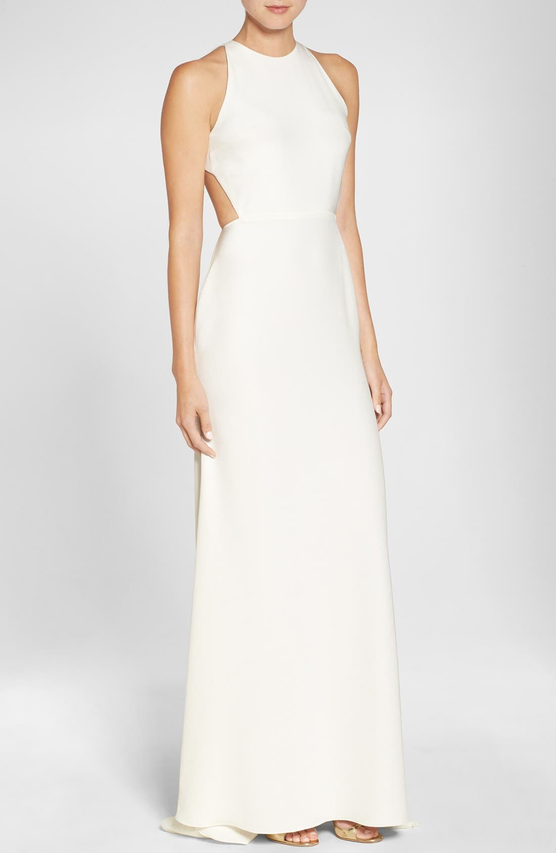 Cutout Back Silk Crepe Halter Style Gown,                         Main,                         color, Ivory