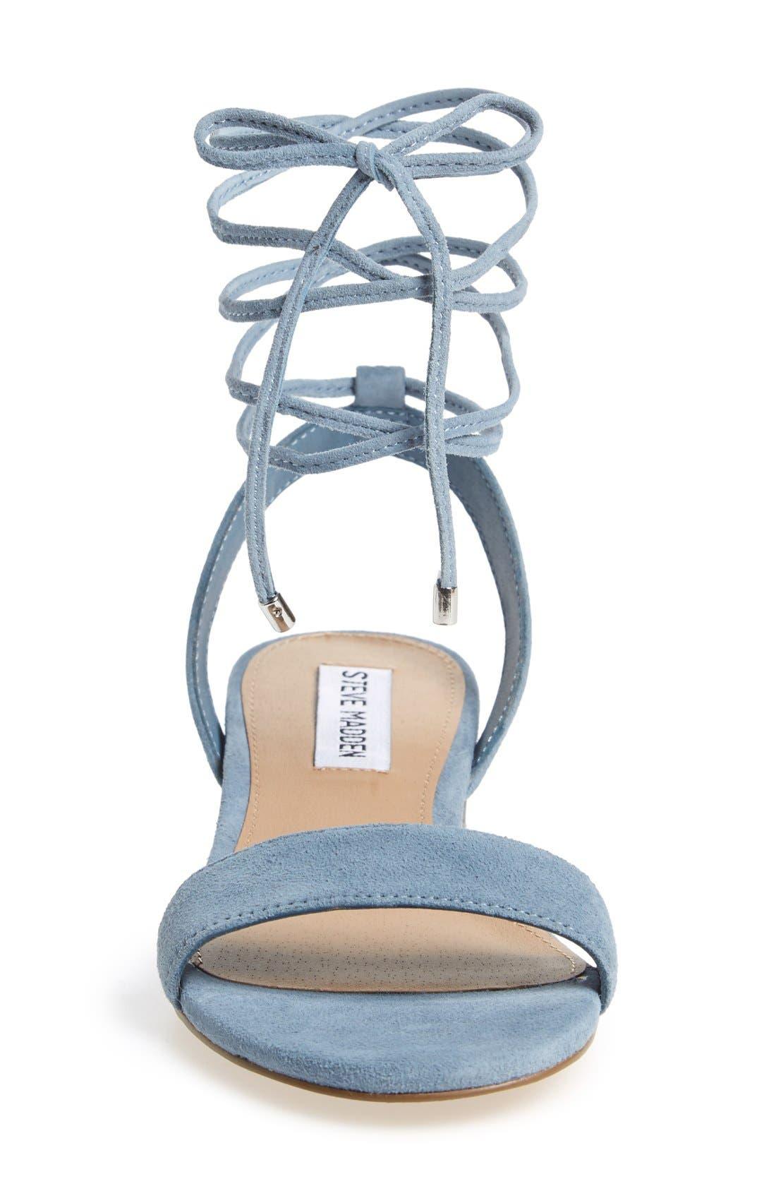 'Carolyn' Lace-Up Sandal,                             Alternate thumbnail 3, color,                             Blue Suede
