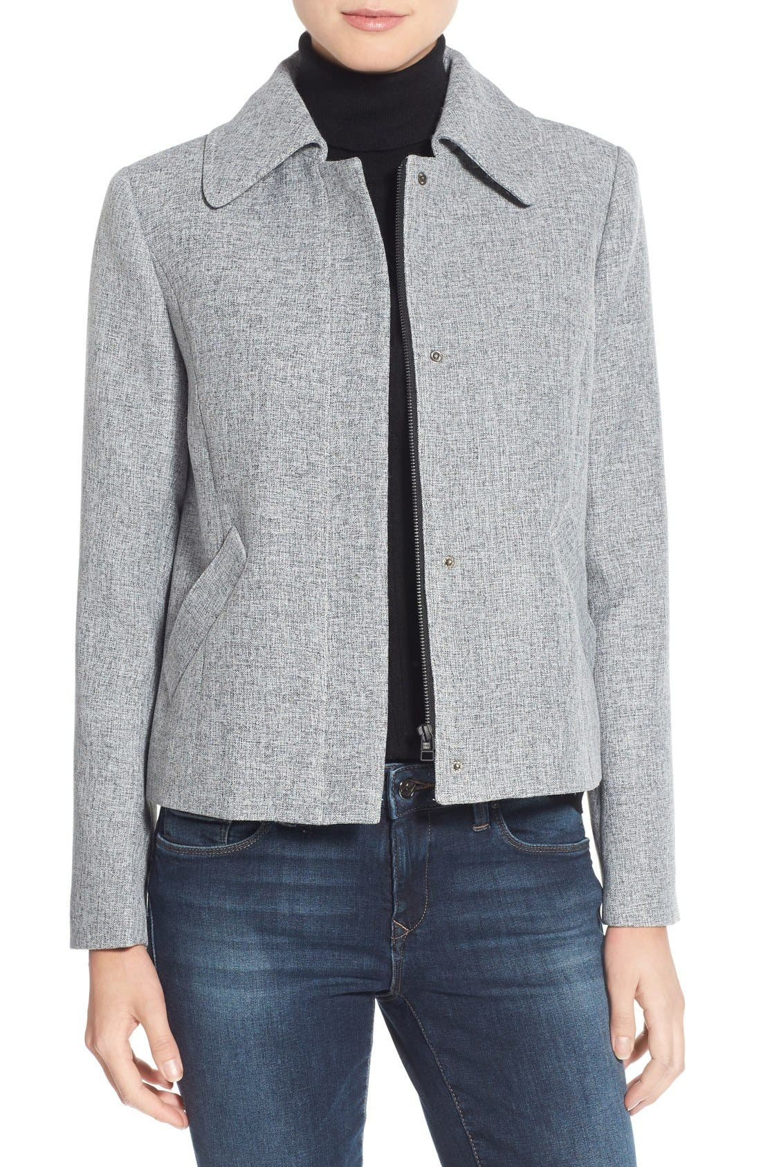 Swing Jacket,                         Main,                         color, Black- Ivory Crosshatch