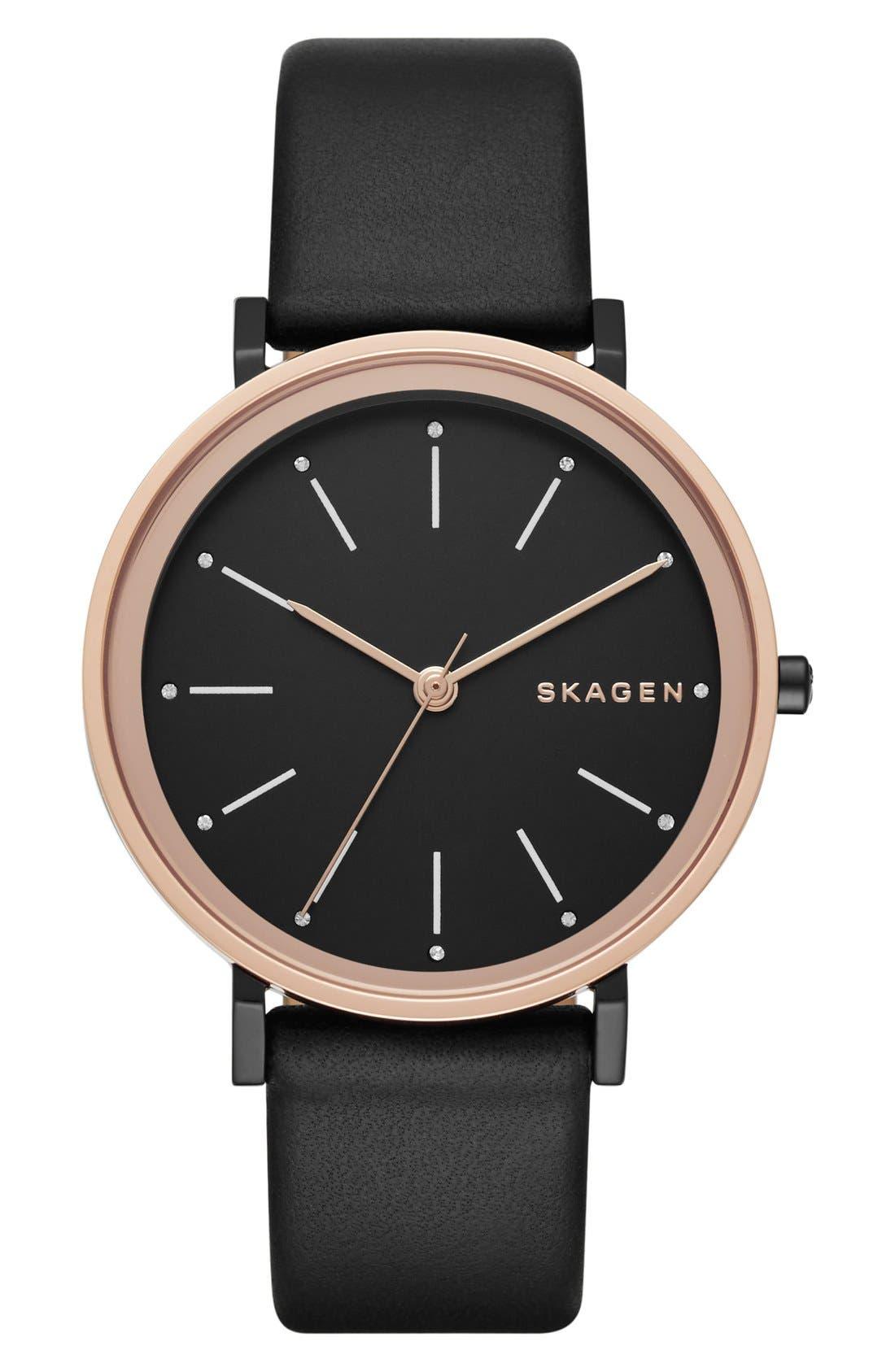 Alternate Image 1 Selected - Skagen 'Hald' Leather Strap Watch, 34mm