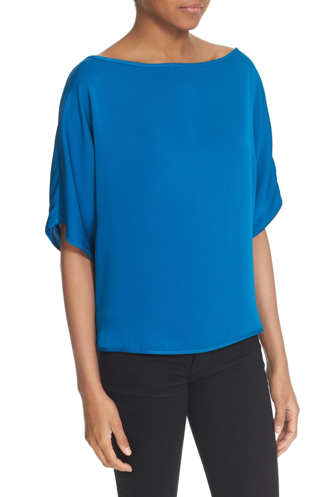 Alternate Image 4  - Milly Stretch Silk Bateau Tee