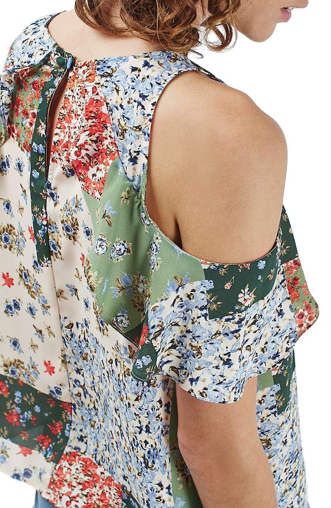 Alternate Image 5  - Topshop Patchwork Floral Ruffle Cold Shoulder Blouse
