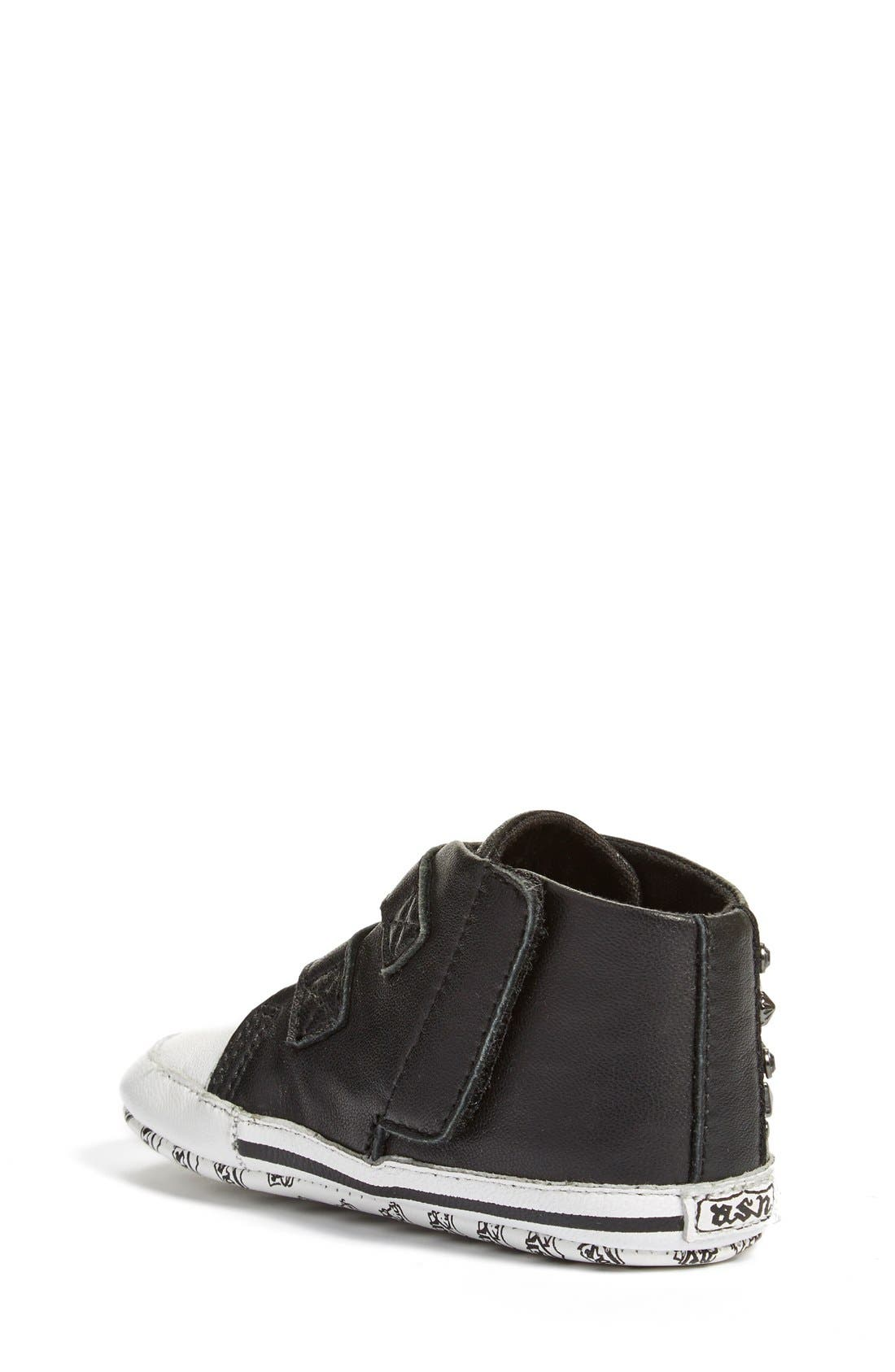 'Viper' High Top Crib Shoe,                             Alternate thumbnail 2, color,                             Black Leather