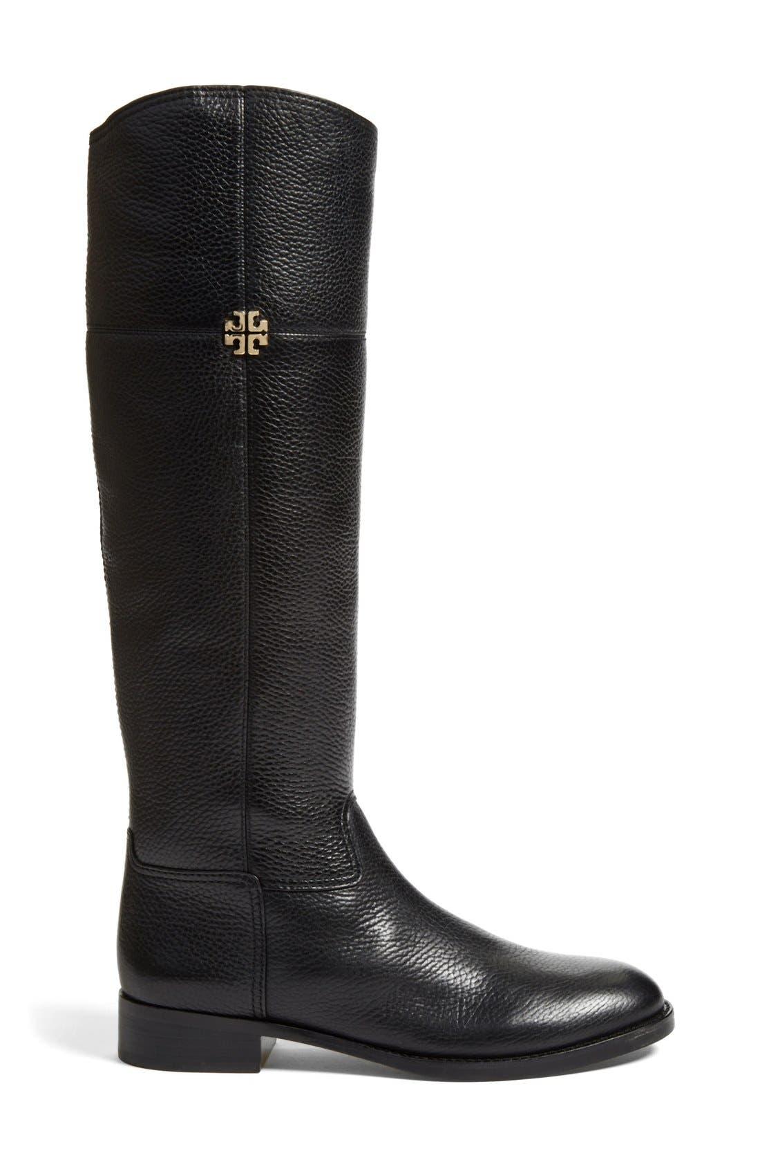 'Jolie' Riding Boot,                             Alternate thumbnail 4, color,                             Black Tumbled Leather