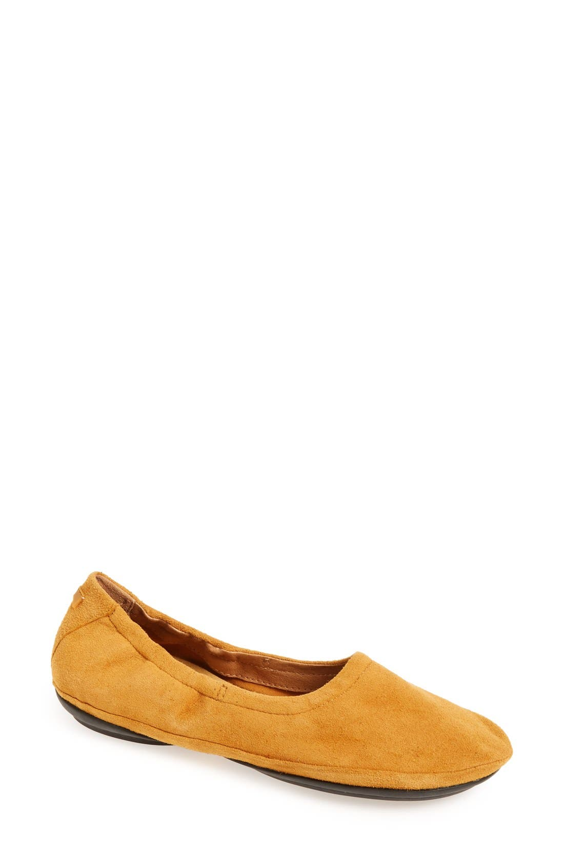 'Right Nina' Ballet Flat,                         Main,                         color, Mustard Suede