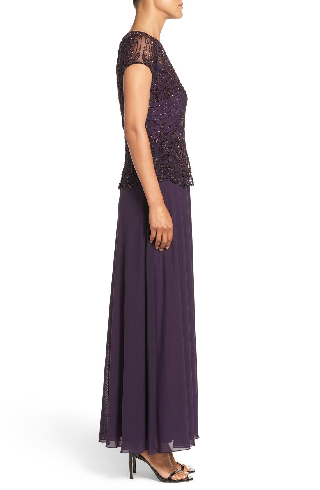 Embellished Mesh Popover Gown,                             Alternate thumbnail 3, color,                             Plum