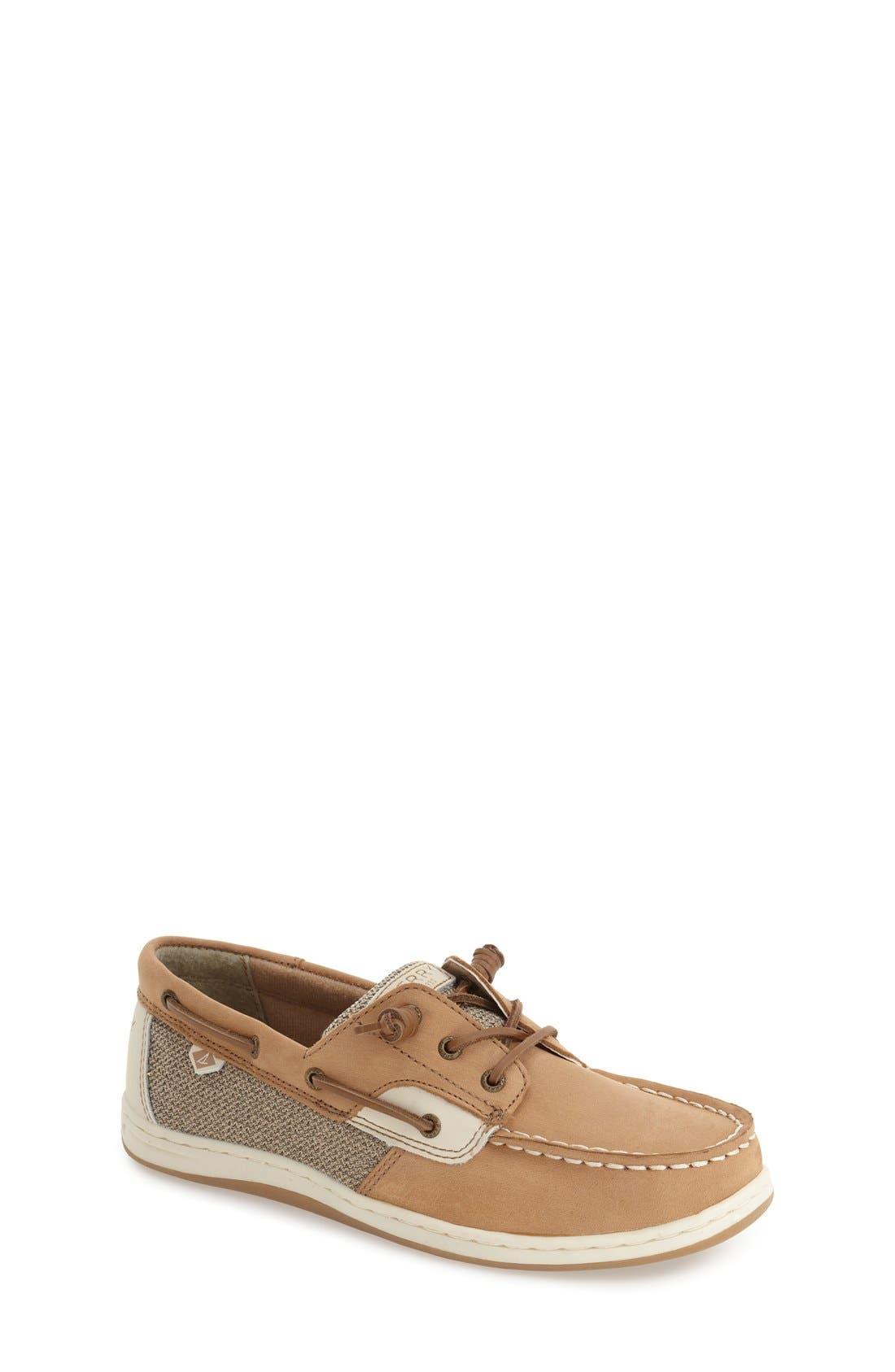 'Songfish' Boat Shoe,                             Main thumbnail 1, color,                             Linen/ Oat Leather