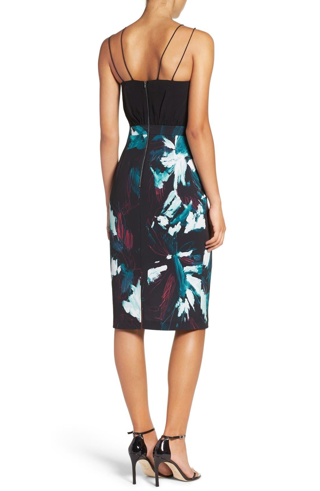 Strappy Print Dress,                             Alternate thumbnail 3, color,                             Black Sketch Floral Print