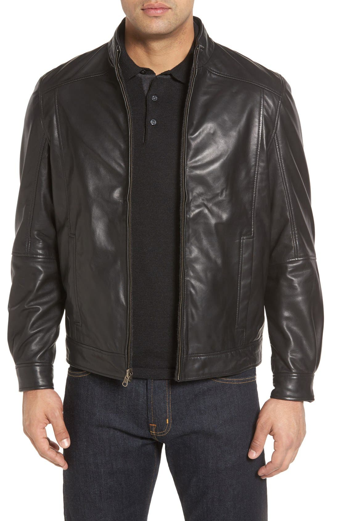 Leather & Wool Reversible Jacket,                         Main,                         color, Black