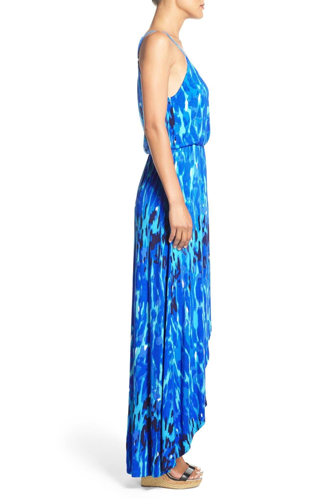 Jersey Faux Wrap Dress,                             Alternate thumbnail 4, color,                             Blue Print