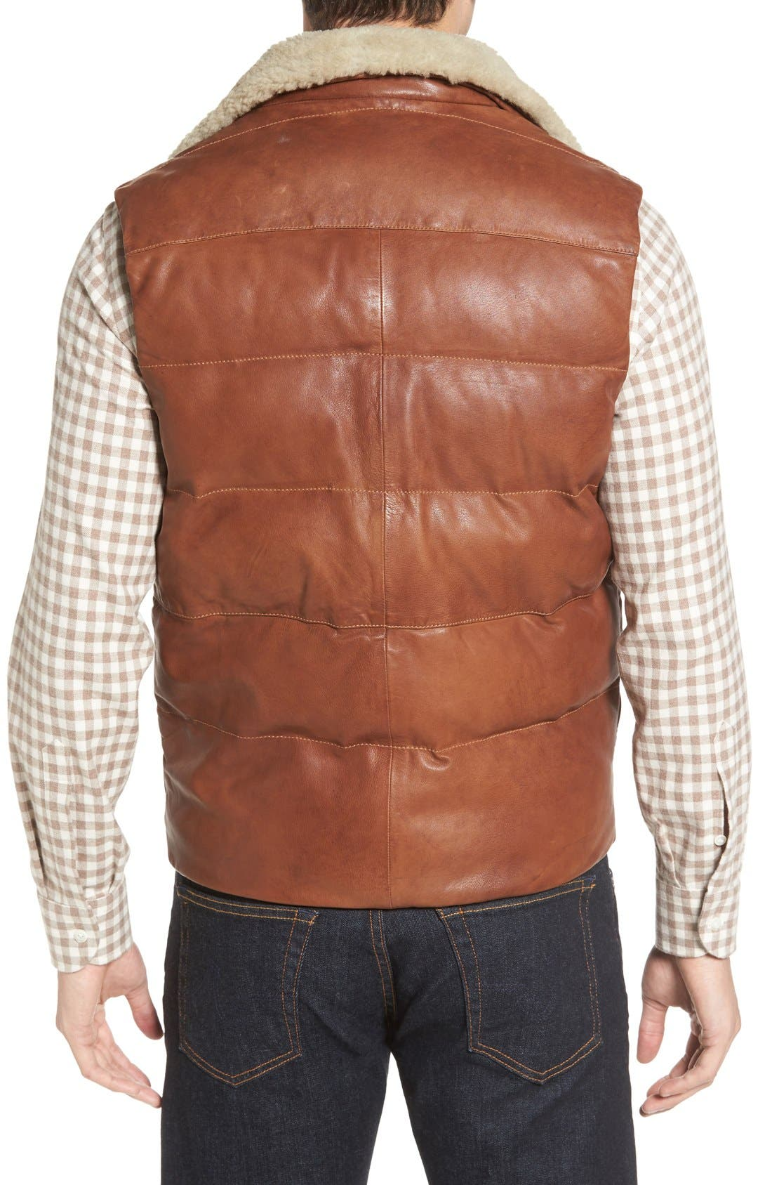 Quilted Leather Vest with Removable Genuine Shearling Collar,                             Alternate thumbnail 2, color,                             Cognac