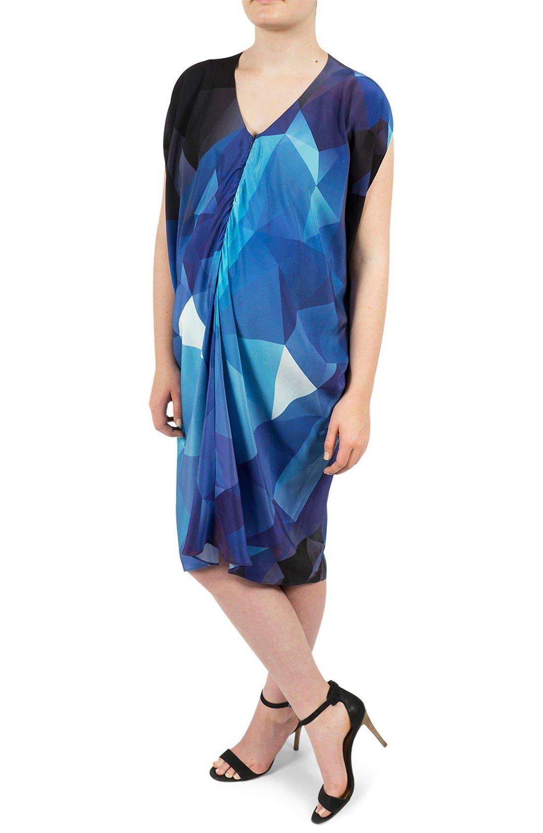 Silk Maternity/Nursing Dress,                         Main,                         color, Blue Cube Print