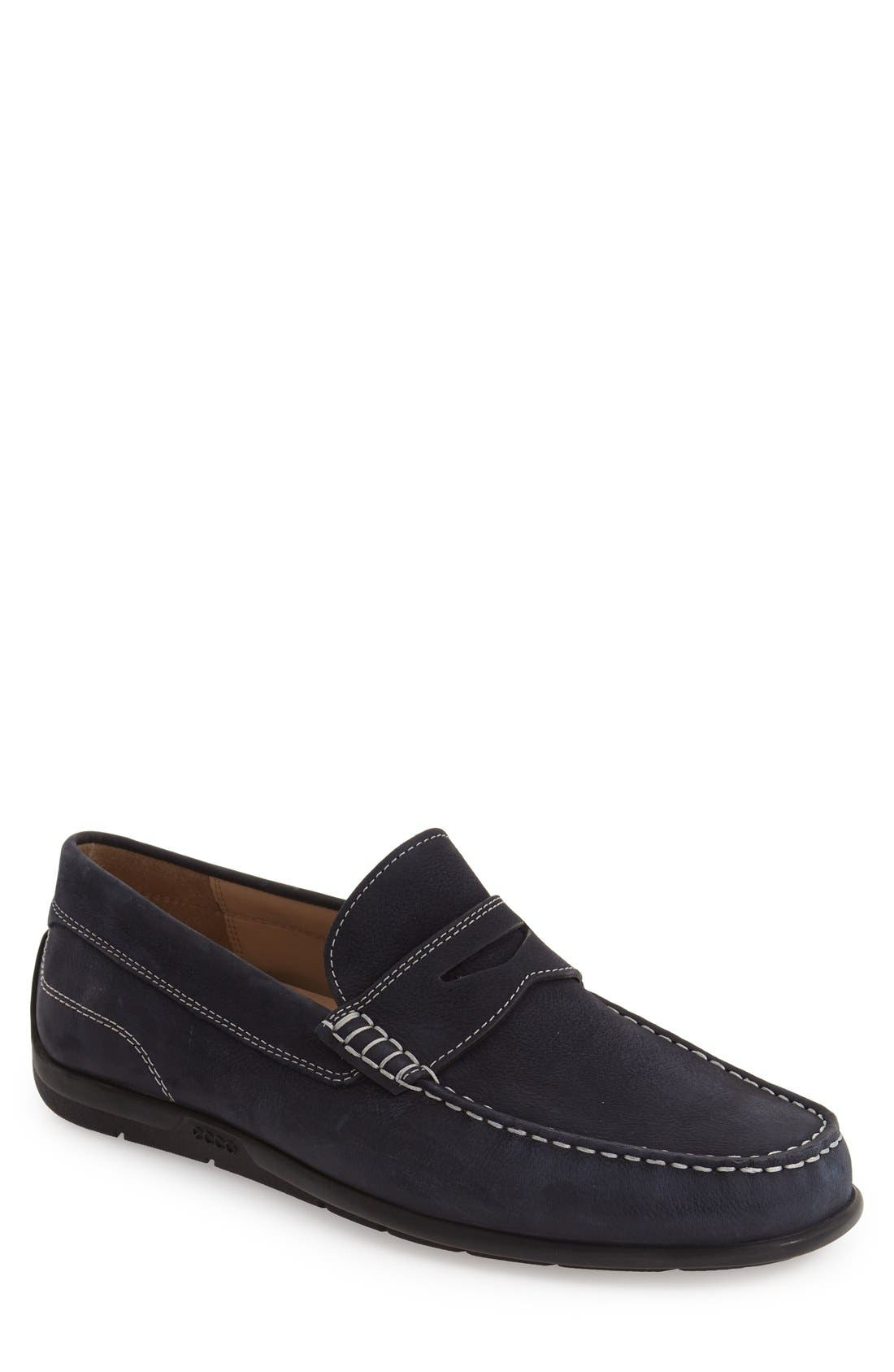 'Classic Moc 2.0' Penny Loafer,                             Main thumbnail 1, color,                             Navy Leather