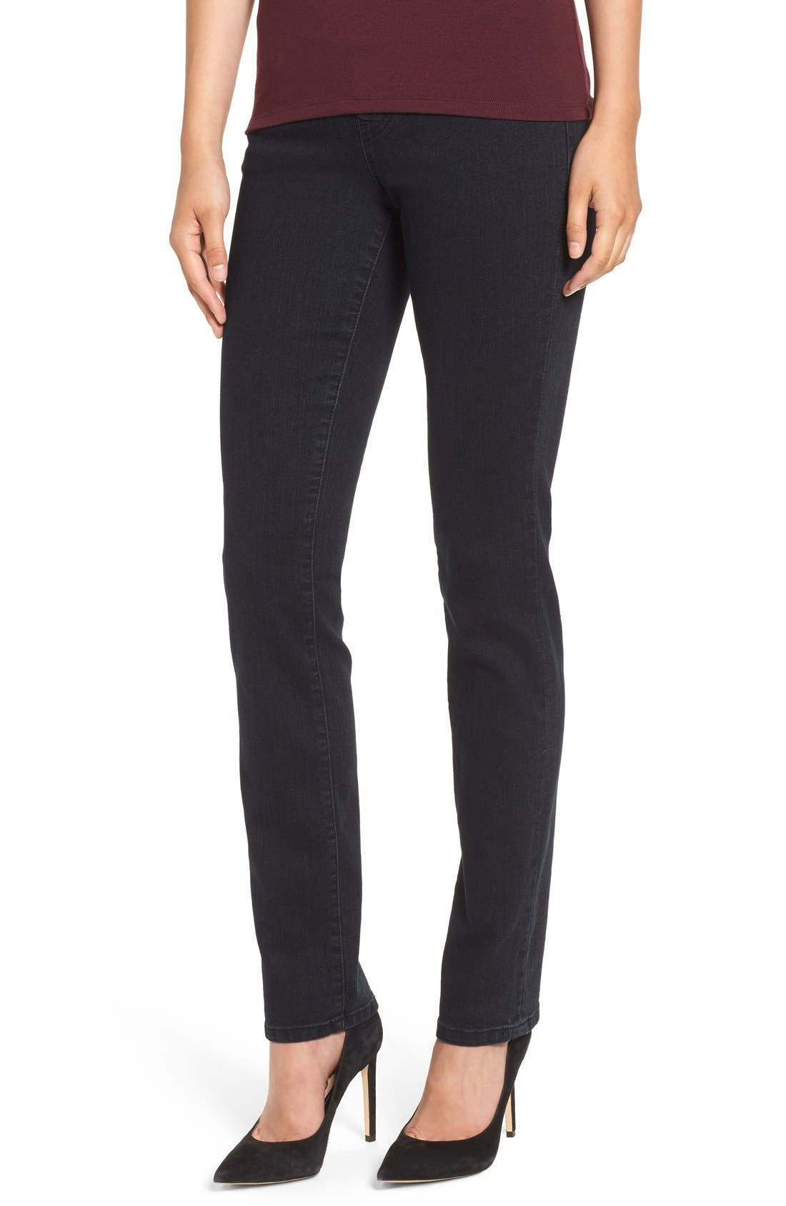 'Peri' Straight Leg Pull-On Jeans,                             Main thumbnail 1, color,                             Black Void