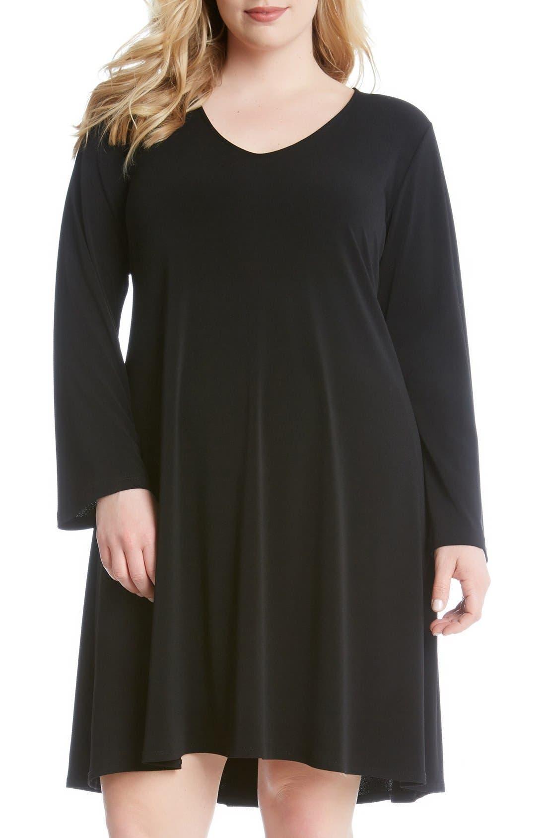 Karen Kane 'Taylor' Long Sleeve A-Line Dress (Plus Size)