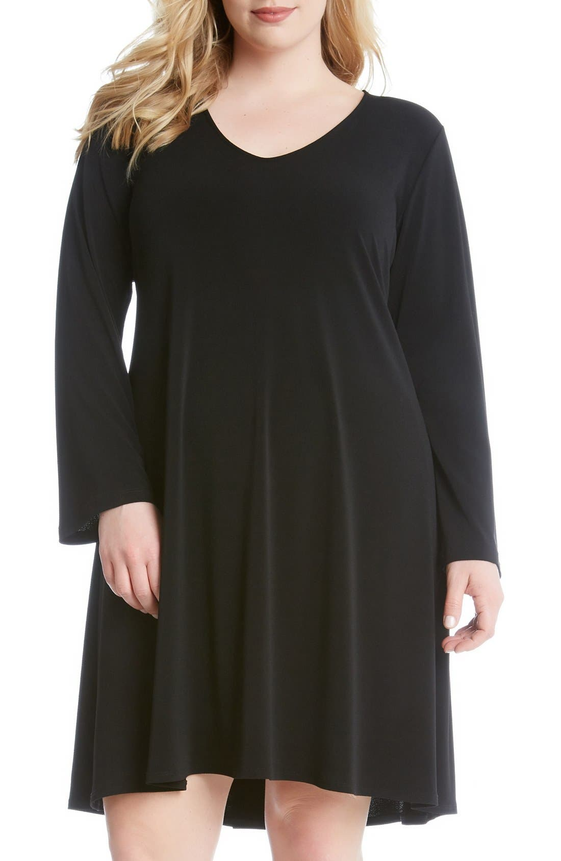Karen Kane 'Taylor' Long Sleeve A-Line Dress (Plus Size)