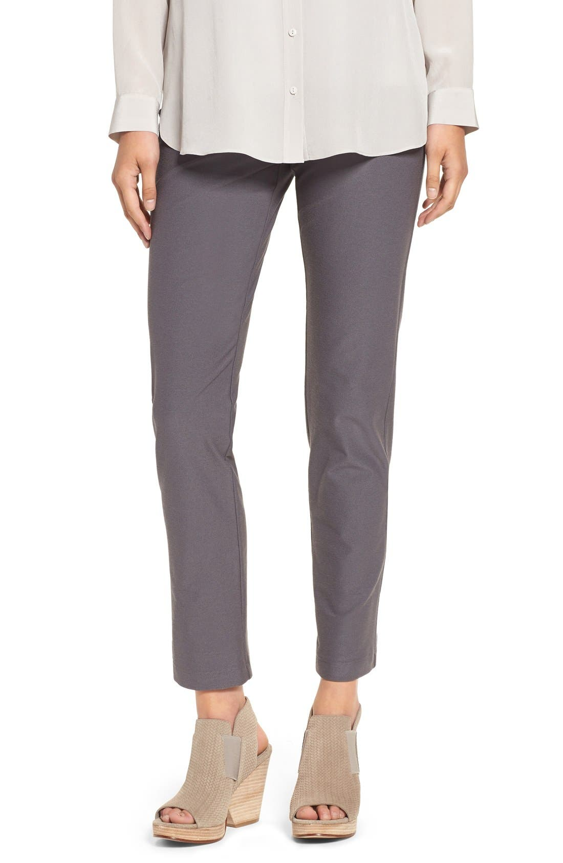 Stretch Crepe Ankle Pants,                         Main,                         color, Ash